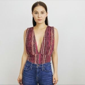 Free People Printed Deep-V Tank Top